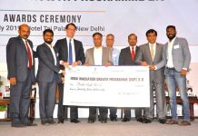 Mr. Habib Ali (2nd Left), Founder and Chief Executive Officer, BeAble, receiving the cheque during IIGP 2.0 Awards Ceremony at Delhi on 17th July 2019