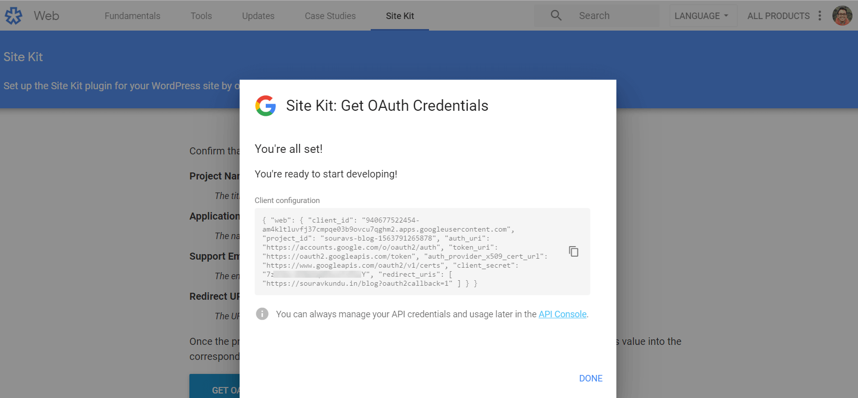 Get Oauth Credentials