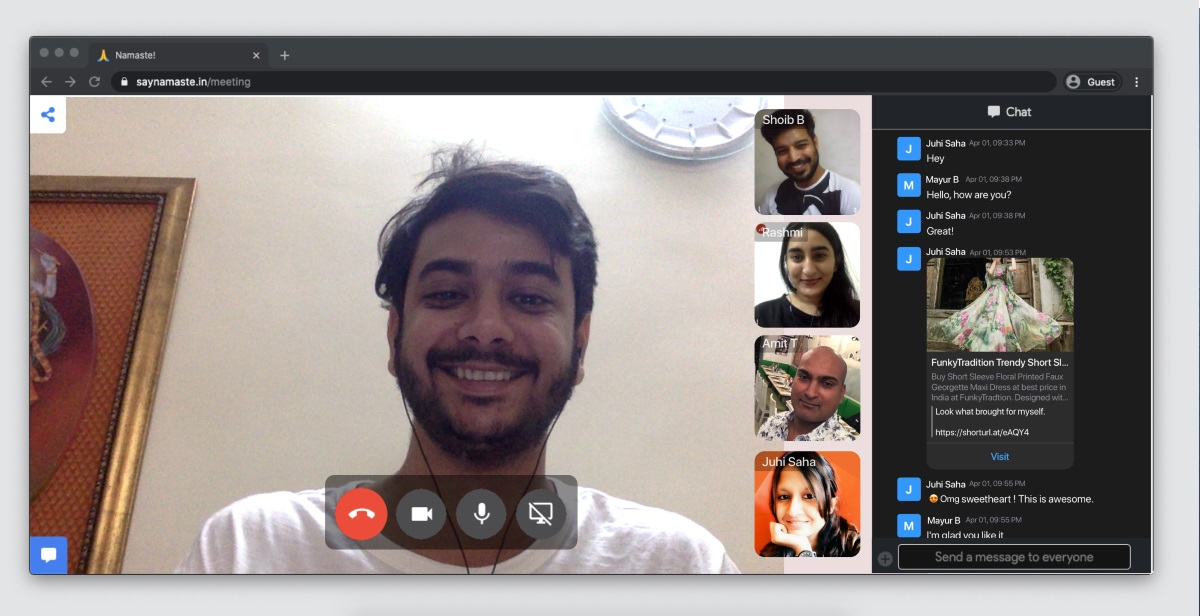 Secure Home Grown Video Conference App for Individuals & Business-Say Namaste 1