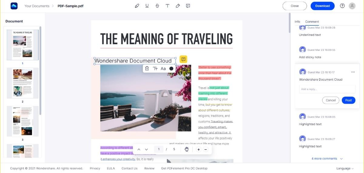 Annotate and Collaborate on PDF online with Wondershare Document Cloud 2